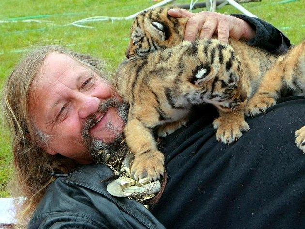 Principál cirkusu Jo-Joo je na své malé tygříky obzvláště pyšný.