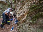 V lese u části Obce Vyskeř - Skalany snaží hasiči a záchranáři již šestým dnem vyprostit psa, který uvízl v liščí noře mezi skalami.