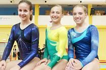 LIBERECKÉ JUNIORKY. Zleva Lucie Nováková, Karolína Bartuňková a Aneta Babíková.