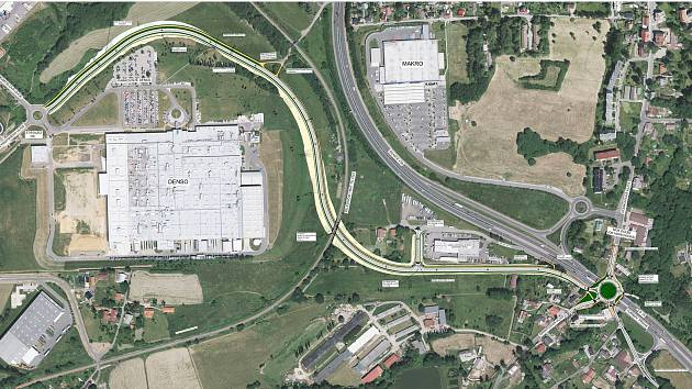 Návrh napojení nového příjezdu do zóny  od mimoúrovňové křižovatky v Doubí.