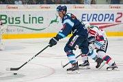 Utkání 9. kola Tipsport extraligy ledního hokeje se odehrálo 1. října v liberecké Home Credit areně. Utkaly se celky Bílí Tygři Liberec a HC Dynamo Pardubice. Na snímku vlevo je Dominik Lakatoš.