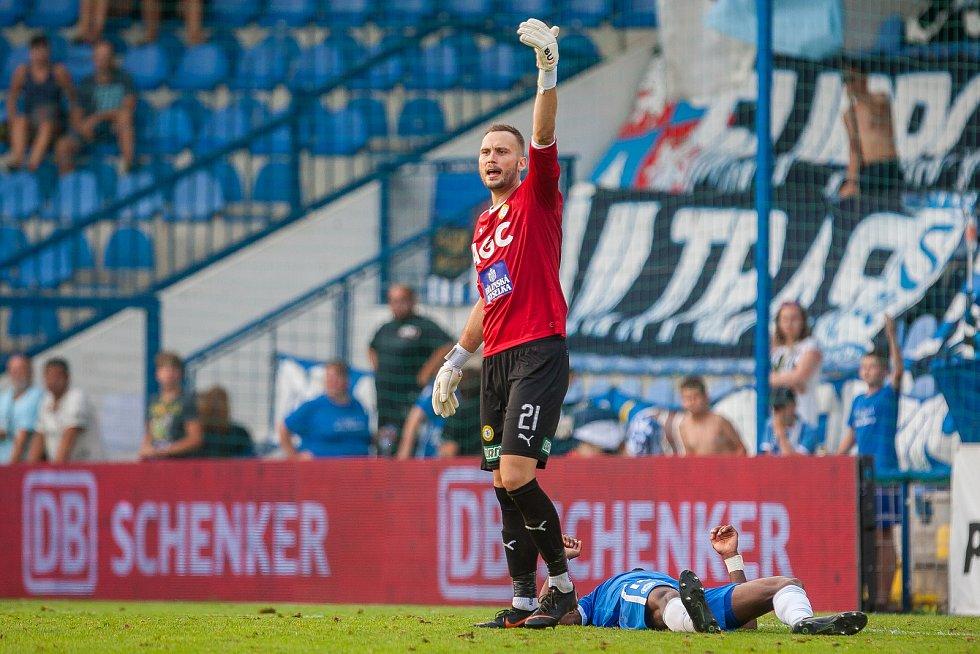 Zápas 3. kola první fotbalové ligy mezi týmy FC Slovan Liberec a FK Teplice se odehrál 4. srpna na stadionu U Nisy v Liberci. Na snímku je brankář Jakub Diviš.
