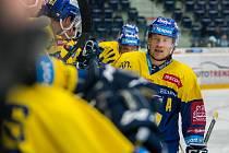 Utkání 18. kola Tipsport extraligy ledního hokeje se odehrálo 14. listopadu v liberecké Home Credit areně. Utkaly se celky Bílí Tygři Liberec a PSG Berani Zlín. Na snímku je