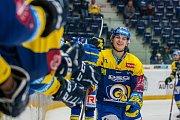 Utkání 18. kola Tipsport extraligy ledního hokeje se odehrálo 14. listopadu v liberecké Home Credit areně. Utkaly se celky Bílí Tygři Liberec a PSG Berani Zlín. Na snímku je radost Zlína, Jan Václavek.