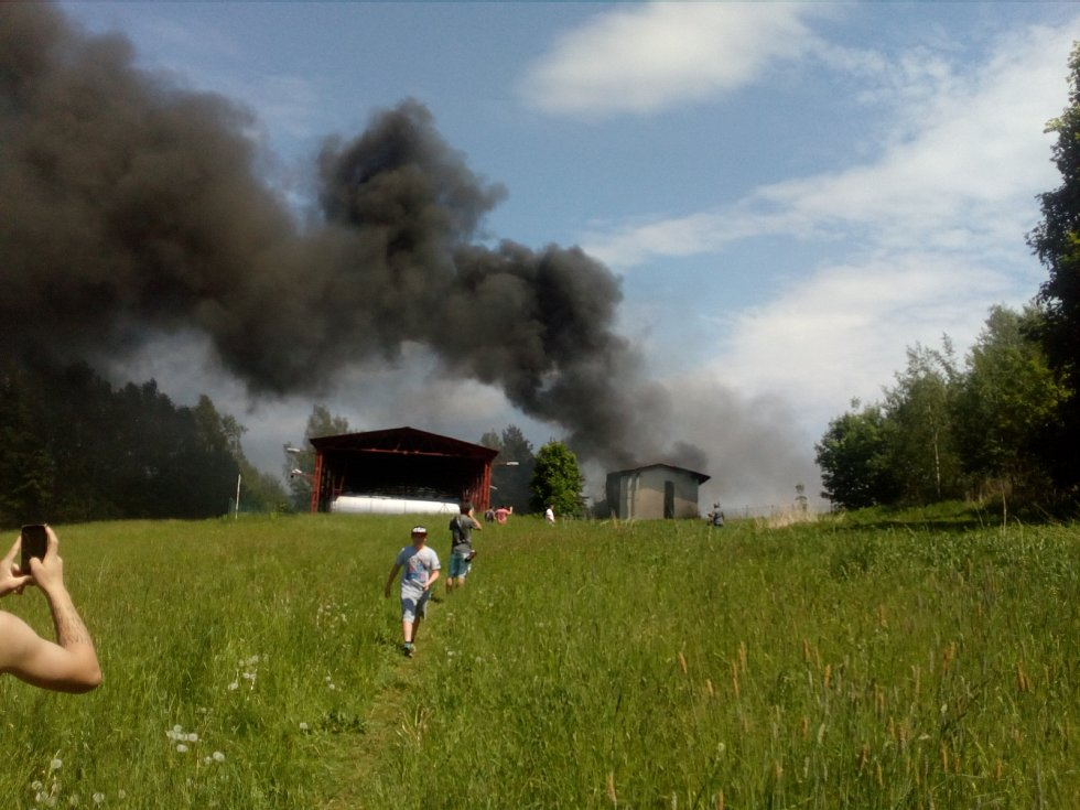 Požár v areálu Severochemy v Liberci