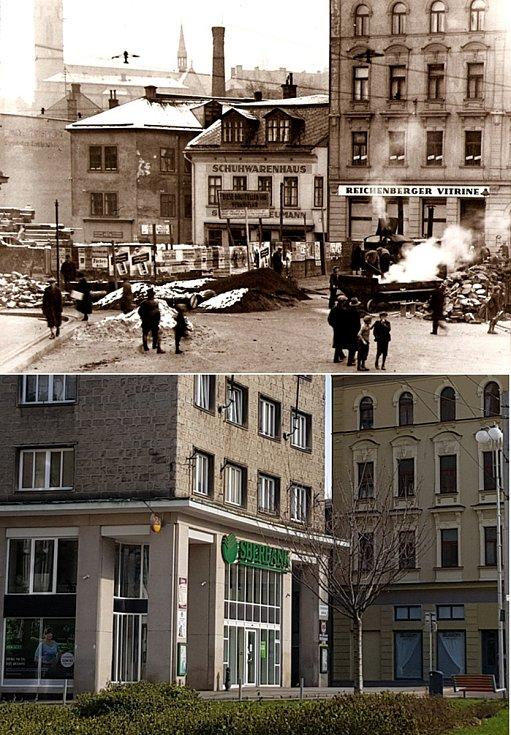 Srovnávací fotografie: Soukenné náměstí kolem roku 1931 a v roce 2021.