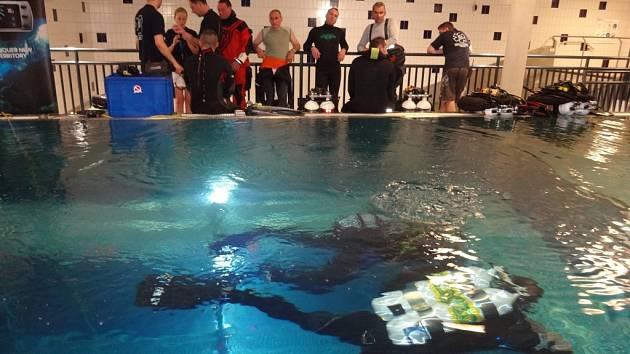 Do speciální potápěčské věže v libereckém bazénu se v neděli odpoledne hromadně ponořilo 160 potápěčů všech věkových kategorií.