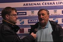 Michal Šandor při rozhovoru s legendárním fotbalistou Antonínem Panenkou.