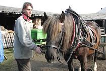 Už dva roky pracuje v ekologickém zemědělství Camphillu Vojtěch Klus. Do Českých Kopist se přistěhoval z Prahy. Na statku jsme ho zastihli před odjezdem na pole s klisnou Sympatie.