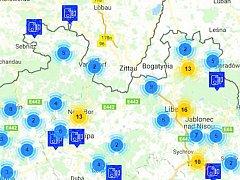 Kde se špatně jezdí? Výsek interaktivní mapy, kterou zveřejnila Policie ČR