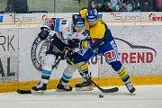 Utkání 18. kola Tipsport extraligy ledního hokeje se odehrálo 14. listopadu v liberecké Home Credit areně. Utkaly se celky Bílí Tygři Liberec a PSG Berani Zlín. Na snímku vlevo je Tyler Redenbach.