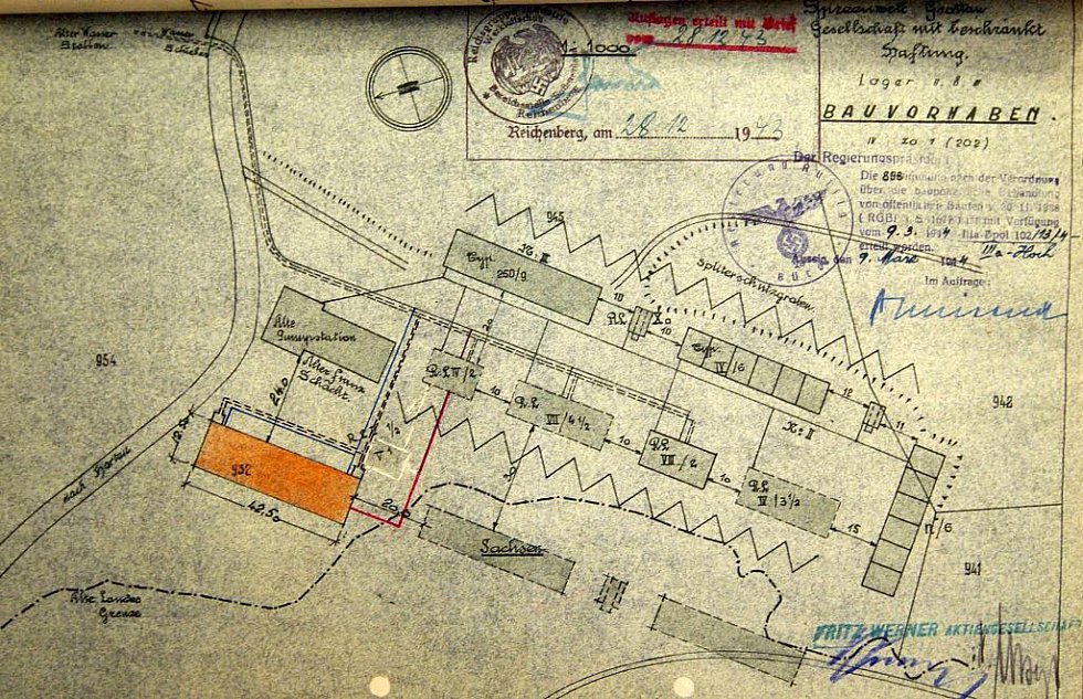Plán barákového tábora v Hrádku nad Nisou. Jeden z archivních podkladů, na základě kterých probíhá výzkum koncentračních, zajateckých a pracovních táborů na Liberecku v době 2. světové války.