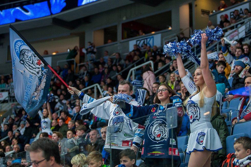 Dohrávka zápasu 11. kola Tipsport extraligy ledního hokeje se odehrála 26. února v liberecké Home Credit areně. Utkaly se celky Bílí Tygři Liberec a HC Dukla Jihlava. Na snímku fanoušci a roztleskávačka Tigers Cats.