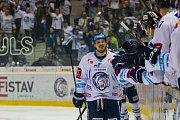 Páté utkání semifinále Generali play off Tipsport extraligy ledního hokeje mezi celky Bílí Tygři Liberec a Piráti Chomutov se odehrálo 7. dubna v liberecké Home credit areně. Na snímku Lukáš Derner.