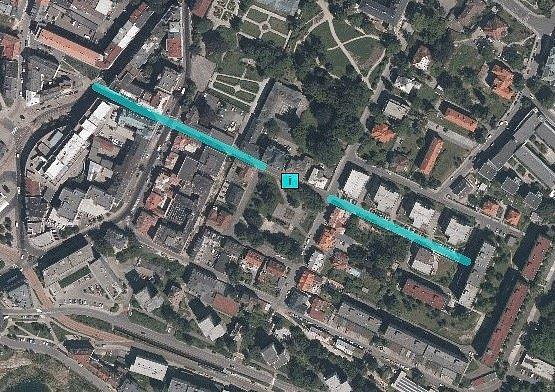 Ulice Boženy Němcové, 2015, letecký snímek
