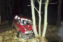 ŘIDIČ NEUJEL. Jeho spanilou jízdu zastavil až strom v Pekle nedaleko Raspenavy.