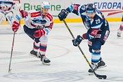 Utkání 9. kola Tipsport extraligy ledního hokeje se odehrálo 1. října v liberecké Home Credit areně. Utkaly se celky Bílí Tygři Liberec a HC Dynamo Pardubice. Na snímku vpravo je Lukáš Krenželok.