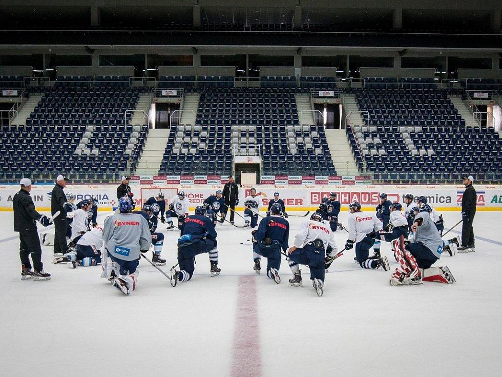 První trénink sezony 2018/19 na ledě hokejistů extraligového týmu Bílí Tygři Liberec proběhl 16. července v Liberci.