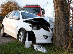 Ilustrační. Dopravní nehoda.Auto narazilo do stromu.