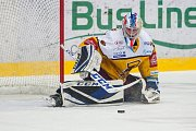 Dohrávka zápasu 11. kola Tipsport extraligy ledního hokeje se odehrála 26. února v liberecké Home Credit areně. Utkaly se celky Bílí Tygři Liberec a HC Dukla Jihlava. Na snímku je brankář Josef Kořenář.