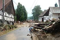 Fotografie z povodní ve Vísce na Frýdlantsku