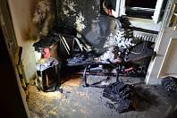 Požár bytu v Ruprechtické ulici v Liberci