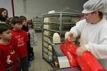 Děti ze ZŠ Dubnice na exkurzi v příšovické mlékárně.