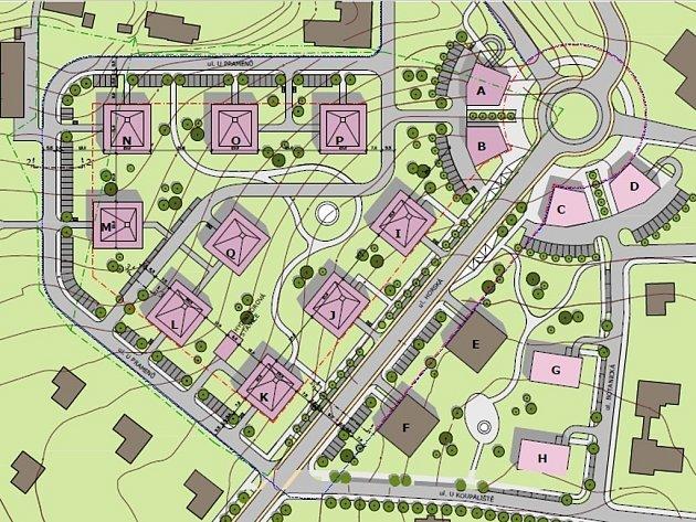 ZAMÝŠLENÁ představa investorky o Villaparku Horská. Tam, kde je plánovaný kruhový objezd, je dnes točka autobusu č. 18 u Ekoflory. Domy E a F už stojí, vyrůst mají další, studie řeší ty po levé straně.