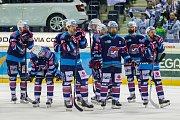 Páté utkání semifinále Generali play off Tipsport extraligy ledního hokeje mezi celky Bílí Tygři Liberec a Piráti Chomutov se odehrálo 7. dubna v liberecké Home credit areně. Na snímku smutek hokejistů Chomutova.
