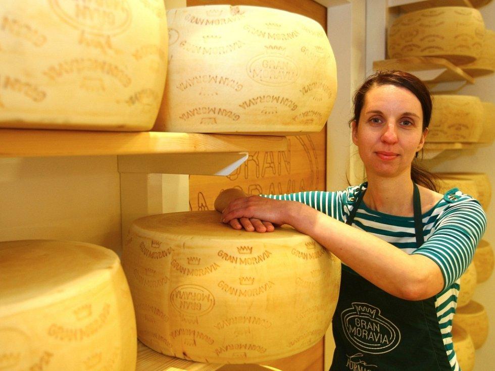 BOCHNÍKY sýra vyrobeného z kvalitního českého mléka podle tradiční italské receptury zrají na prodejně několik měsíců, než se naporcují pro zákazníky, říká Kristýna Lukešová.