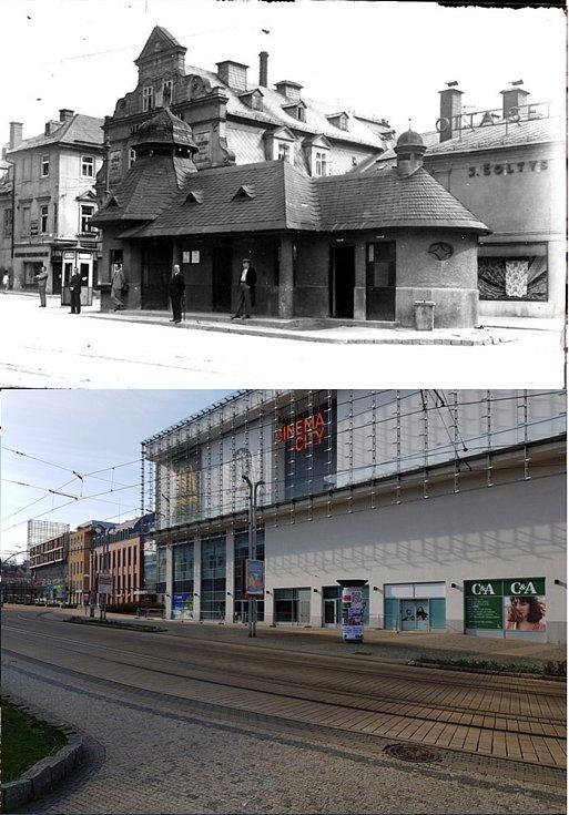 Srovnávací fotografie: Soukenné náměstí kolem roku 1930 a v roce 2021.