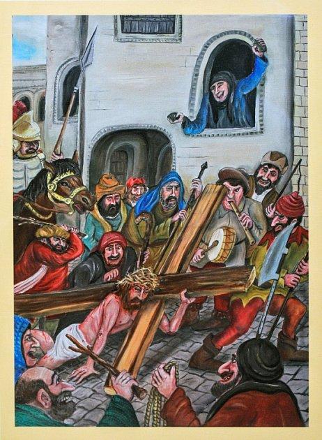 UKŘIŽOVÁNÍ JEŽÍŠE KRISTA. Jednotlivé postavy nemají předlohy ve skutečných lidech, ikdyž to původně výtvarník Petr Urban zamýšlel.