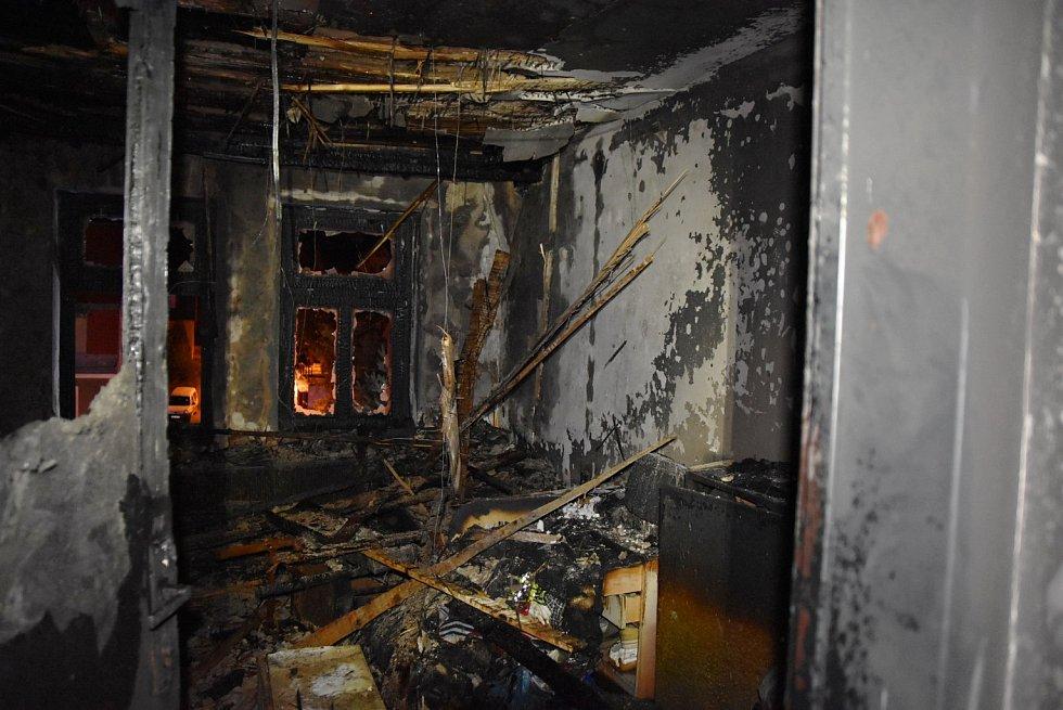 Požár v jablonecké ulici Svatopluka Čecha