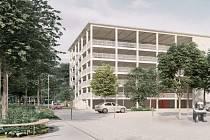 Vizualizace parkovacího domu v Liberci.