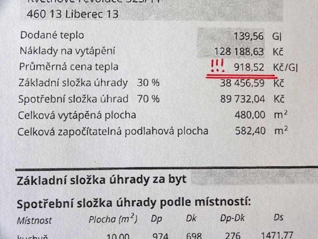 ROZDÍLNÉ CENY ZA GIGAJOULY. Na snímku cena za rok 2014. Podle nájemníků jde o zdražení, podle teplárny ne.