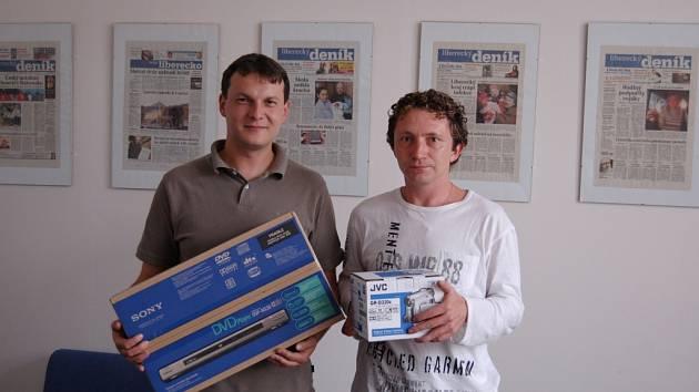 DVA ZE TŘÍ VÝHERCŮ. Vlevo Karel Černý (105 bodů), vpravo Daniel Jiřimský (114).