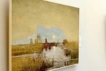 Parafráze obrazu Eugena Jettela Měsíční krajina s větrníky od Martina Velíška. Obraz je možno měnit dotykem.