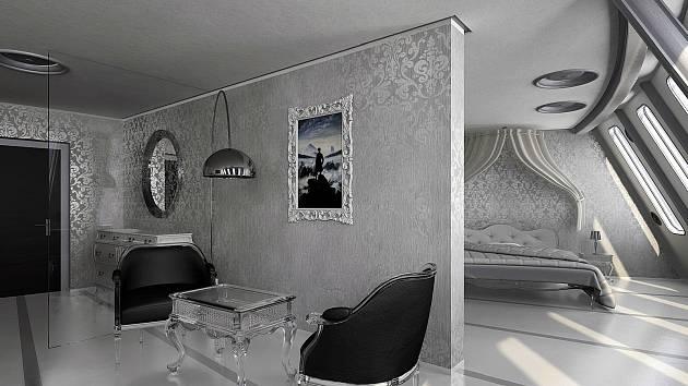 Nový návrh architektonického studia ARN hotelového apartmánu na Ještědu.