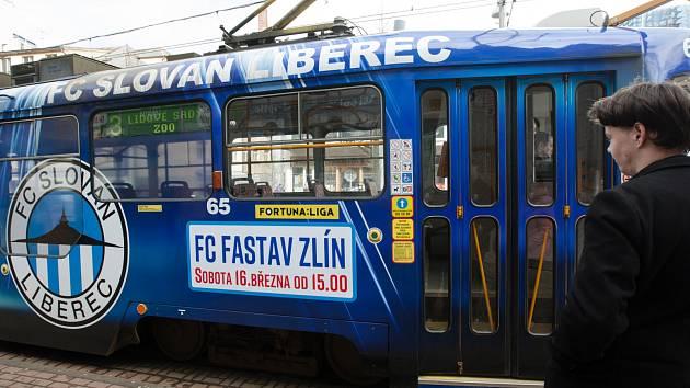 Tramvaj FC Slovan Liberec.