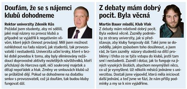 Rektor Zdeněk Kůs a Martin Bauer za Klub Vlak