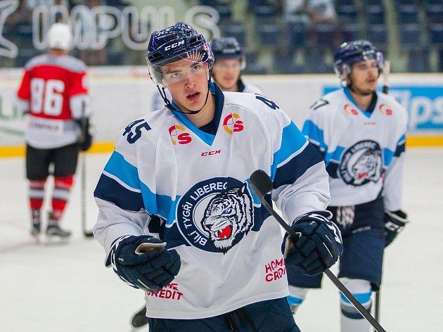 Přátelské utkání mezi týmy Bílí Tygři Liberec a Metallurg Novokuzněck se odehrálo 2. srpna v liberecké Home Credit areně. Na snímku je Ondřej Chrtek.