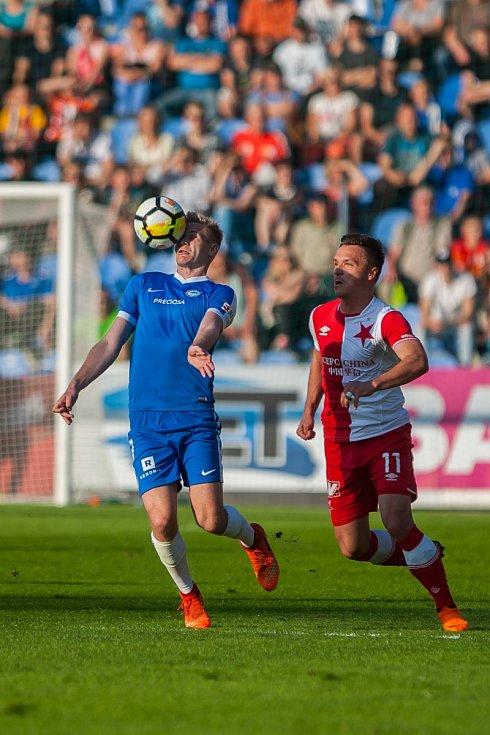 Utkání Slovanu Liberec proti Slavii Praha. Zdeněk Folprecht (vlevo) a Stanislav Tecl