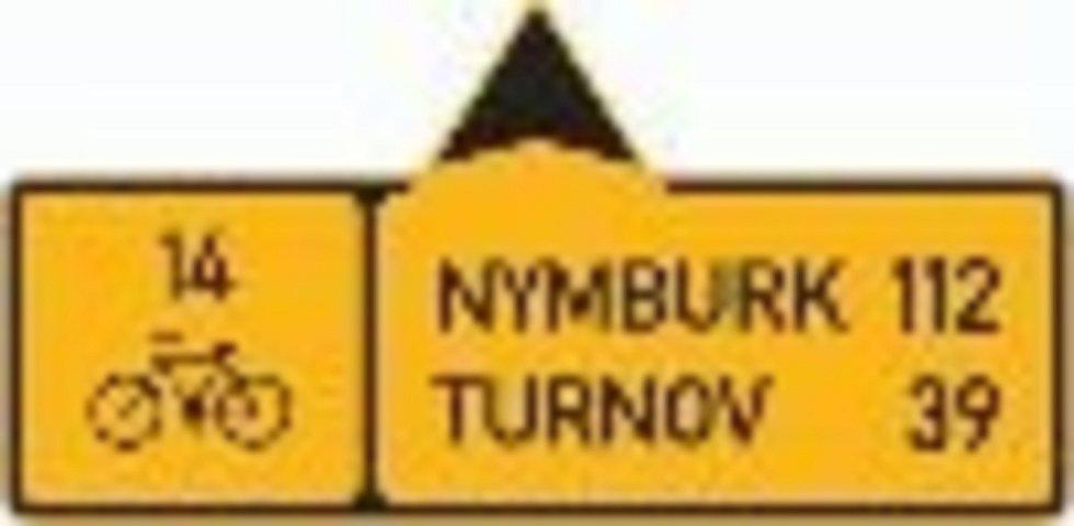 Směrová tabule pro cyklisty.