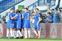 Radost libereckých fotbalistů v utkání se Slováckem