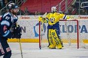 Utkání 42. kola Tipsport extraligy ledního hokeje se odehrálo 21. ledna v liberecké Home Credit areně. Utkaly se celky Bílí Tygři Liberec a Aukro Berani Zlín. Na snímku je brankář Libor Kašík.