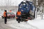 Sněžení. Dopravní situace na Liberecku.