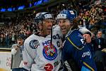 Utkání 46. kola WSM ligy ledního hokeje se odehrálo 3. února v liberecké Home Credit areně. Utkaly se celky HC Benátky nad Jizerou a Rytíři Kladno. Na snímku zleva Petr Nedvěd a Jaromír Jágr.