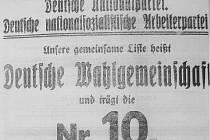 """REKLAMA Z POČÁTKU STOLETÍ. Tato volební upoutávka láká voliče k urně Německé národní strany a Německé nacionálně–socialistické dělnické strany (NDSAP), zde sdružené do """"Deutsche Wahlgemeinschaft"""" (Německé volební souručenství)."""