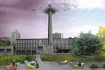 Jeden z návrhů studentů ukazuje, jak si budoucí architekti představují prostor před Centrem Babylon.