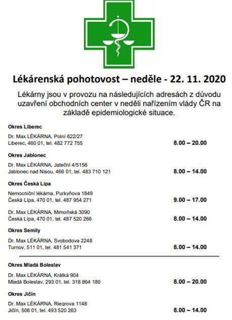 Lékárny vLibereckém kraji.